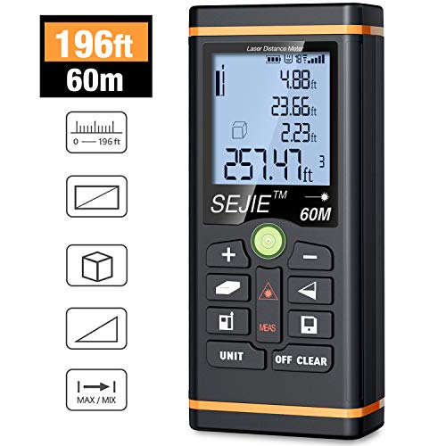 (Laser Measure, ESYWEN Digital Laser Distance Meter 196ft Laser Tape Measure with Large LCD Backlight Display and Pythagorean Mode, Measure Distance/Area/Volume)
