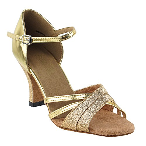 "Sehr feine Tanzschuhe 6030 (Competition Grade) 3 ""Heel Gold"