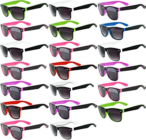 20 Pieces Per Case Wholesale Lot Glasses. Assorted Colored Frame Fashion Sunglasses.Bulk Sunglasses - Wholesale Bulk Party Glasses, Party - Wholesale Sunglasses Bulk