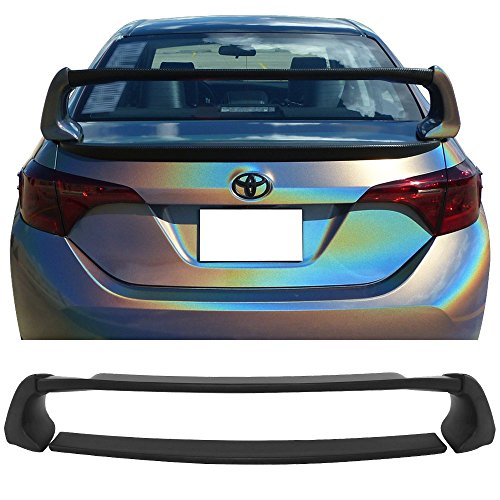 Pre-painted Trunk Spoiler Fits 2014-2018 Toyota Corolla Sedan | ABS Painted Matte Black Trunk Boot Lip Spoiler Wing Deck Lid Other Color Available By IKON MOTORSPORTS | 2015 2016 2017