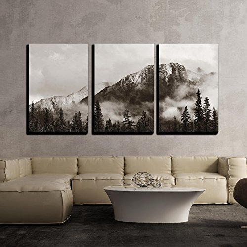 Banff National Park View Panorama with Foggy Mountains and Forest in Canada x3 Panels