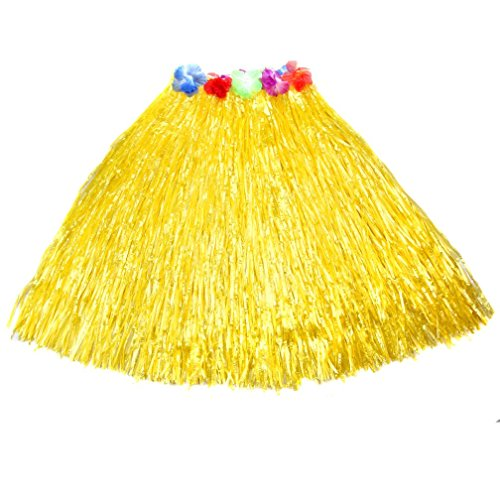 ECOSCO Hawaiian Plastic Flower Grass Skirt 23.6 inch Long Hula Luau Skirt (Yellow) (Flower Hula Skirt)