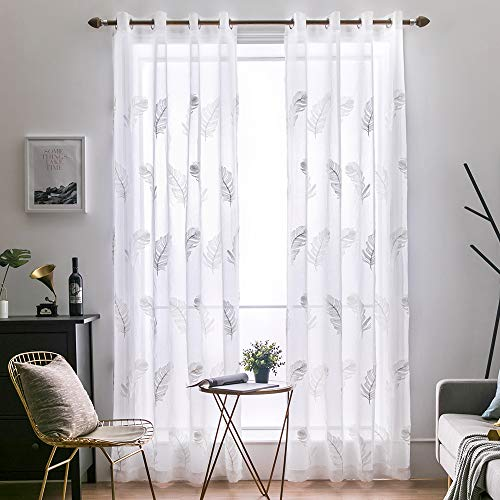 MIULEE 2 Panels Embroidered Sheer Window Feather Design Grommet Curtains Window Voile Panels/Drape/Treatment for Bedroom Living Room (54X84 Inch -
