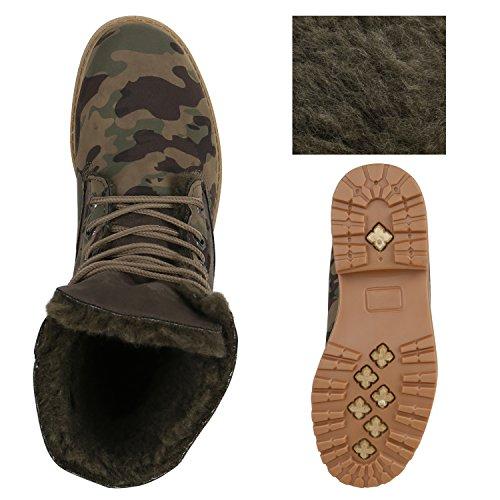 Stiefelparadies Damen Stiefeletten Warm Gefütterte Worker Boots Outdoor Schuhe Flandell Grün Camouflage