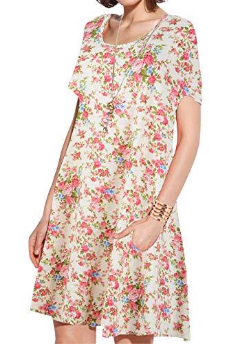 JollieLovin Women's Pockets Casual Swing Loose T-Shirt Dress (7-Yellow, 3X) ()