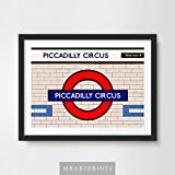 LONDON UNDERGROUND PICCADILLY CIRCUS ART PRINT POSTER Tube Station Sign Train Railway British Urban City Metro Subway Decor A4 A3 A2 (10 Size Options)