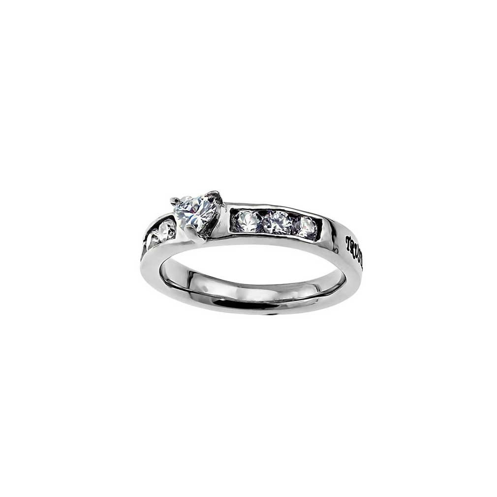 Christian Womens Stainless Steel Abstinence Proverbs 3:5 ''Trust in the Lord with all your heart'' Heart Princess Solitaire Chastity Ring for Girls - Girls Purity Ring - Comfort Fit Ring