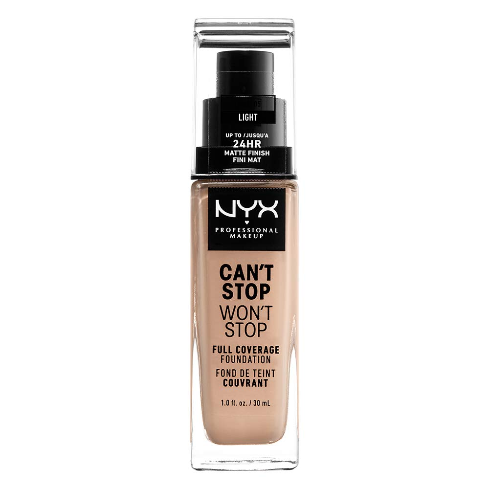 Nyx Professional Makeup Can't Stop Won't Stop Full Coverage Foundation, Light, 1.0 Ounce