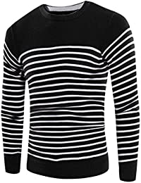 Mens Slim Fit Stripe Pullover O-neck Knitted Sweater