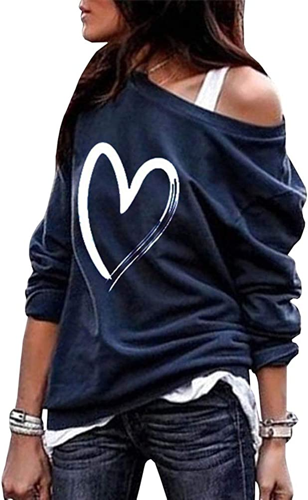 Koodred Womens Off Shoulder Tops Heart Print Long Sleeve Boat Neck Cute Casual T-Shirt Pullover Sweatshirts