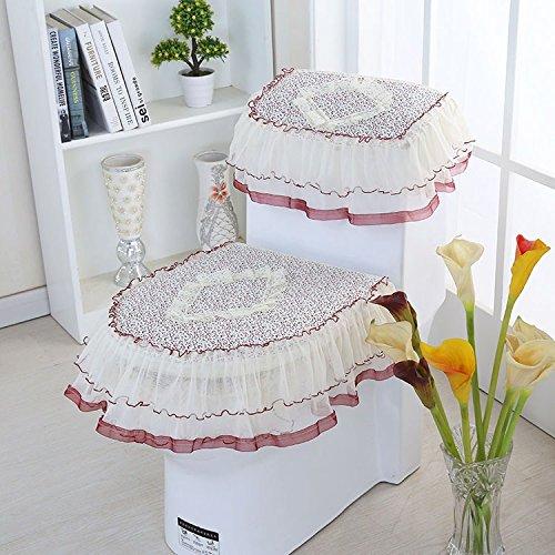 MKSFY Toilet Seat Cover 3-Piece Zipper Four Seasons Universal Lace Living Quarters, A Little Bit -