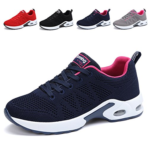 Light Blue Tennis Shoes - JARLIF Women's Breathable Fashion Walking Sneakers Lightweight Athletic Tennis Running Shoes (8 B(M), Blue)