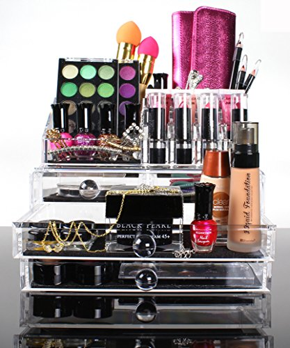 Best Acrylic Makeup Organizer For Beautiful Cosmetic Storage 2 Piece Quality Display For Make