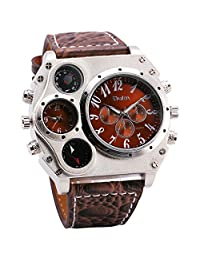OULM NEW Men's Military Quartz Wrist Watch Python Grain Brown Leather Strap Compass Thermometer 2 Time Zone Tonneau Dial + Box