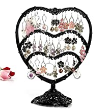 Earring Holder, Botitu 11 inch Tall Jewelry Organizer with 58 Hooks and 3 Tier Earring Tree for Women and Girls Jewelry Stand, Suitable for Dresser, Nightstand, Countertop or Showcase Earring Display (Black)