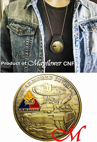 Mayflower CNF Coin &Leather Holder - 1 st Armored DIV - May God Keep You Safe in All That You do and Bring You Back Home to Those Who Love You