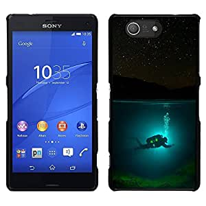 Design for Girls Plastic Cover Case FOR Sony Xperia Z3 Compact Scuba Diver Diving Underwater Tank Night OBBA