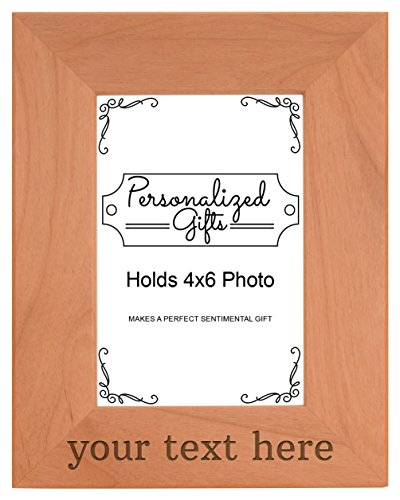 ThisWear Personalized Gifts New Grandpa Custom Any Name & Me Dad Step Dad Gifts Godfather Gifts Natural Wood Engraved 4x6 Portrait Picture Frame Wood