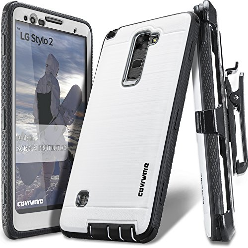 LG Stylo 2 /LG Stylo 2 Plus/LG Stylo 2 V, COVRWARE [Iron Tank] Built-in [Screen Protector] Heavy Duty Full-Body Rugged Holster Armor [Brushed Metal Texture] Case [Belt Clip][Kickstand], White