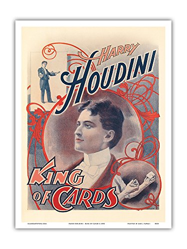Harry Houdini - King of Cards - Vintage Magic Poster c.1895 - Master Art Print - 9in x ()