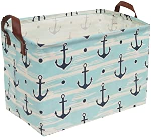 Sanjiaofen Rectangular Canvas Storage Bins,Waterproof Storage Basket,Collapsible Toy Organizer Bin with Handles for Clothes Storage, Kid's Toy Box,Book Bag (Blue Anchor)