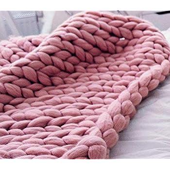 HomeModa Studio Super Chunky Knit Blanket, Merino Wool Blanket, Extrem Knitting, Chunky Blanket, Giant Super Chunky Knit Blanket (Blush Pink, Bed Runner -30X50 inches)