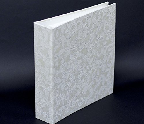 White Photo Album Scrapbook Kraft Paper, 160 4x6 Pictures, 80 Pages 40 Sheets, Wedding Photo Album, Guest Book, Gliter Handmade Paper, Eco Friendly, 9.9