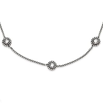 0cb56759bedac Amazon.com: Stainless Steel CZ Cubic Zirconia and Black Simulated ...