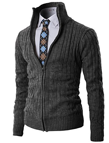 H2H Mens Casual Knitted Cardigan Zip-up with Twisted Pattern - US S (Asia M) - -