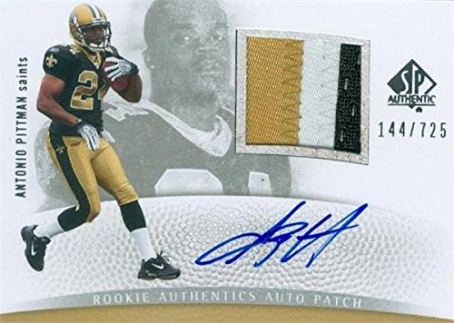 Antonio Pittman autographed player worn jersey patch Football Card (New Orleans Saints) 2007 Upper Deck Rookie Authentics #267 LE (Authentic Player Autographed Card)