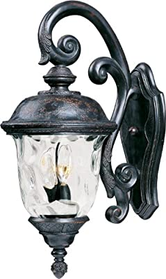 Maxim Lighting 40497WGOB Carriage House VX 3-Light Top Mount Outdoor 26.5-Inch Wall Lantern, Oriental Bronze Finish