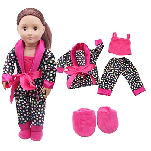 Wensltd Clearance! 5Pcs Lovely Pajamas Set Clothes Shoes for 18inch American Girl Our Generation Dolls (Hot Pink)