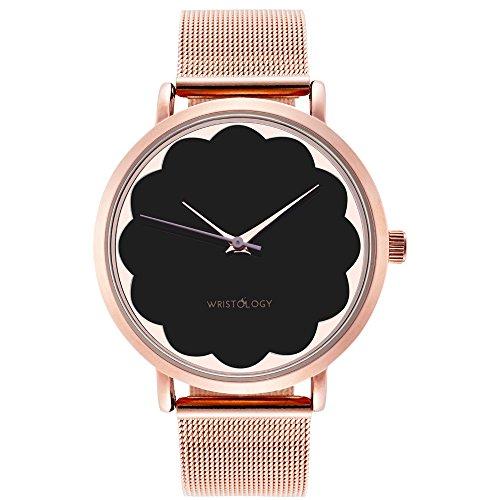 Gold Watch Face (WRISTOLOGY Olivia Womens Scalloped Rose Gold Watch Black Face Rose Metal Mesh)