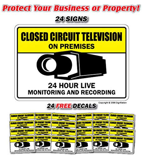 Free Surveillance Decal - Video Surveillance CCTV ~24 Signs & 24 Free Decals~ Label Decal Sticker Retail Store Sign Sticks to Any Surface 8