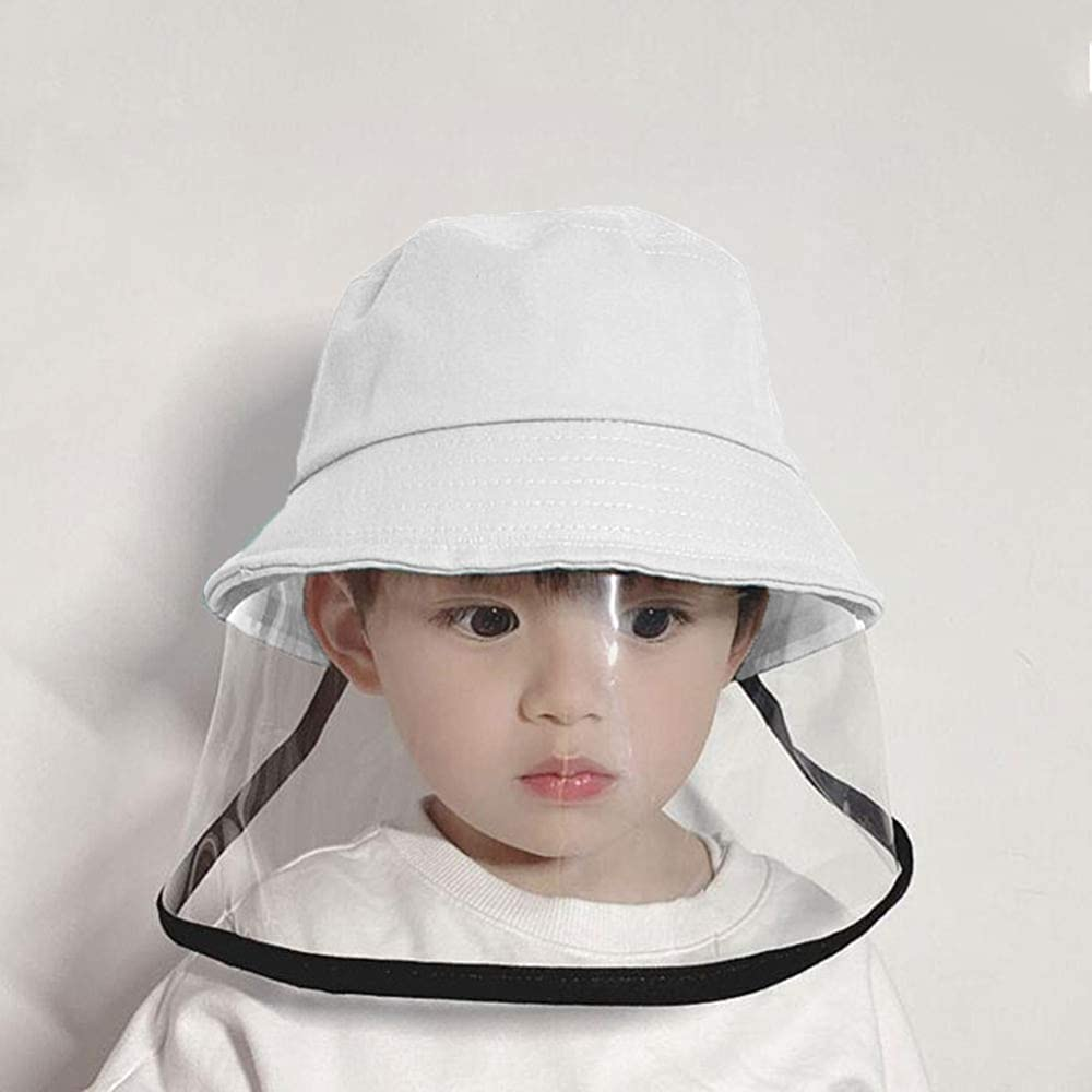 Kids Baby Fisherman Hat Face Shield Removable Clear Shield Anti Droplets Outdoor