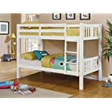 Furniture of America Davis Transitional Bunk Bed, Twin/Twin, White