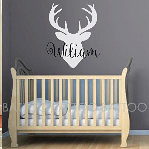 BATTOO Personalized Name Wall Decal Deer Head Decor- Boys Name Wall Decal Hunting Themed Woodland Nursery Decor- Wall Decal Kids Antler Wall Decor(color4, 22