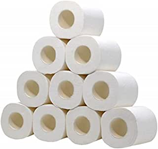 Rokment White Toilet Paper Toilet Roll Tissue Roll Pack Of 10 3Ply Paper Towels Tissue Absorbent Hand Towels