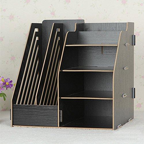 Hensych® organizador de madera de escritorio, estante de almacenamiento, 2 ranuras para archivos de papel /revistas y 4 compartimentos, color Original: ...