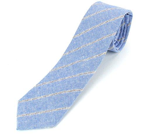 Men's Linen Cotton Skinny Necktie Tie Light Beige/White/Brown Pinstripe Pattern - 2 1/2' Width