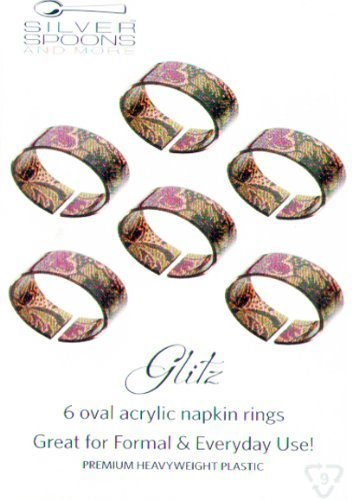 Set of 6 Oval Acrylic Napkin Rings - BURGUNDY / GOLD FLORAL ()