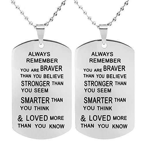ALoveSoul 2 Pcs Inspirational Necklace - Graduation Gifts Necklace Always Remember You Are Braver Than You Believe Women Pendant