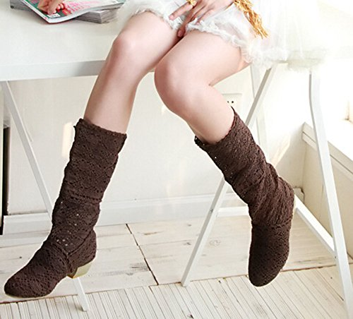shoes 2015 hole fashion knitted boots boots Spring boots and female braun hole high breathable leg summer Rrn7RUgq