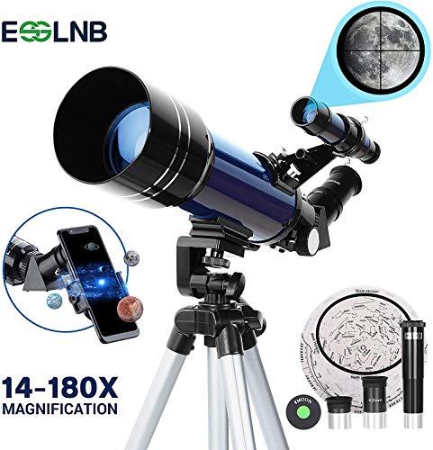 🥇 ESSLNB Telescopio 70mm Telescopios Astronomicos con Ajustable Trípode Adaptador de Teléfono 3X Barlow Lente y Filtro de Luna