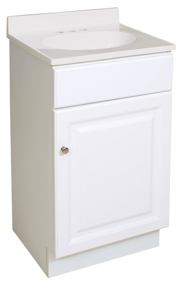 Design House 531723 Wyndham Ready-To-Assemble White 1 Door Vanity, 18-Inches Wide by 31.5-Inches Tall by 16-Inches Deep