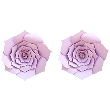 Lg Free 8 Inch 2pcs Party Paper Flower Backdrop Diy Handemade Flower Wall Backdrop Decoration Wedding Rose Flower For Nursey Birthday Home Decor