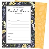 Purple Floral Bridal Shower Invitations, Set of 25 Fill-in Style Invites and Envelopes with Elegant Yellow, White, Grey and Green Florals.