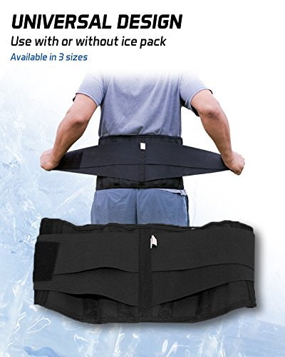 Pro Ice MEDIUM Back Ice Wrap Lumbar Support for Lower Back Pain Relief, Pinched Nerves, Sciatica - Waist Size 26''-33'', Model PI 700 Ice Packs Included by PRO ICE COLD THERAPY PRODUCTS (Image #2)