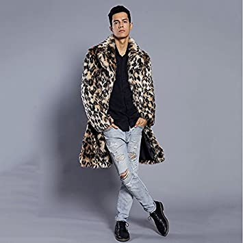 52a73c100d Lemumu Men Party Plus Size Punk Gothic Street Chic Winter Fur Leopard Shirt  Collar Long-