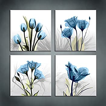 Moyedecor art 4 panel elegant tulip flower canvas print wall art painting for living room